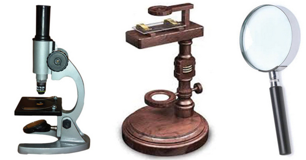 image shows the evolution of a simple microscope