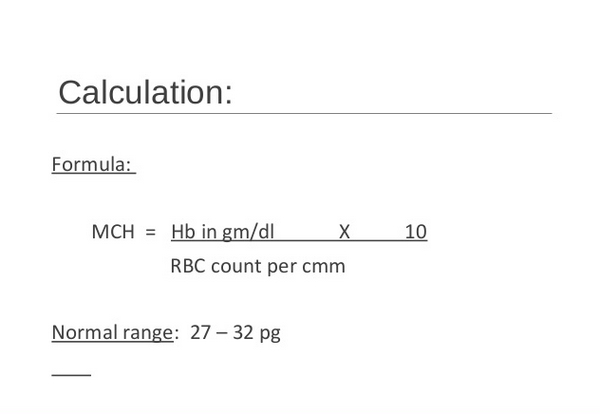 The formula used to calculate MCH level